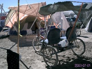 There's CH's tent. There's sCary's trike. Hmmm? Wonder what they're up to?